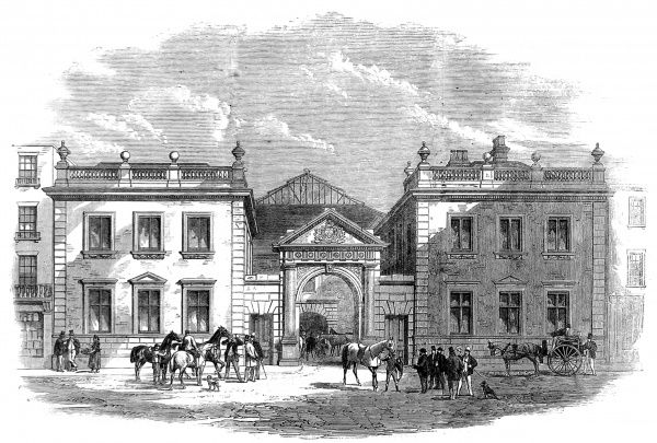 Engraving showing the exterior of 'Tattersall's' Horse and Carriage Market, Knightsbridge, 1864