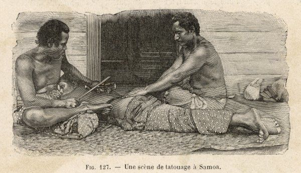 TATTOOING IN SAMOA A Matai (= tattooer) works on a young man : he does about 40 cm2 in an hour's session, continued at intervals till the operation is completed