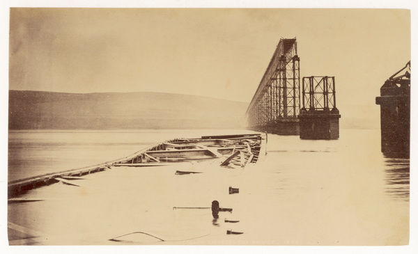 The destroyed central section of the Tay railway bridge from which a passenger train crashed into the river at night drowning between 75 and 90 passengers