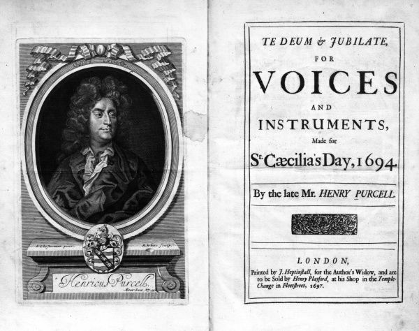Te Deum and Jubliate for voices and instruments by Purcell, made for St Cecilia's Day, 1694. Date: 1697