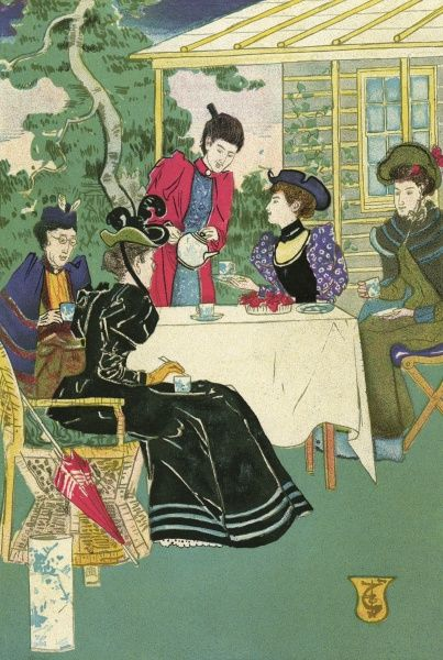 The English, too, have their Tea Ceremony - five ladies take tea on the lawn Date: 1895