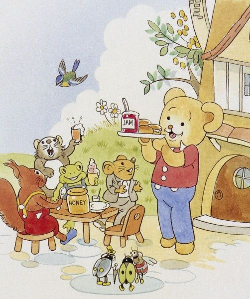 A tea party for a bear and his friends. The bear carries a pot of jam and some buns on a tray, towards a table where a squirrel, a frog and two other animals are sitting. Two ladybirds and a bee stand nearby, looking expectant
