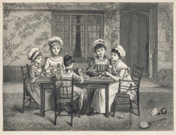 Thin faced little girls in mob caps partake of cake & tea seated on rush chairs. A racquet & shuttlecock have momentarily been abandoned for the sake of refreshment