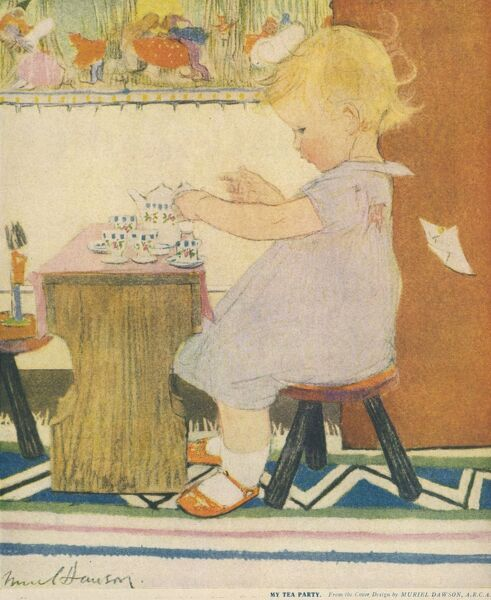 A small blonde girl enjoys playing with a toy tea set. A tiny toy soldier on the other side of the table appears to be her only guest