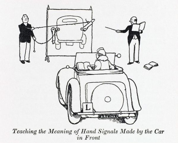 Teaching the meaning of hand signals made by the car in front. Please note: Credit must appear as (c) Courtesy of the estate of Mrs J.C.Robinson/Pollinger Ltd/Mary Evans Picture Library
