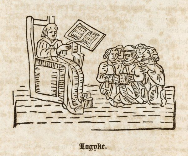 A teacher of logyke (logic) instructs his pupils, from Caxton's 'Myrrour of the Worlde', printed in 1481