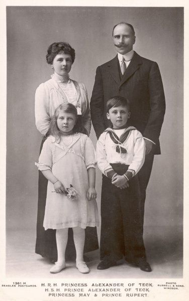 PRINCE ALEXANDER OF TECK with his wife, Princess Alice of Albany, their son Rupert and their daughter May