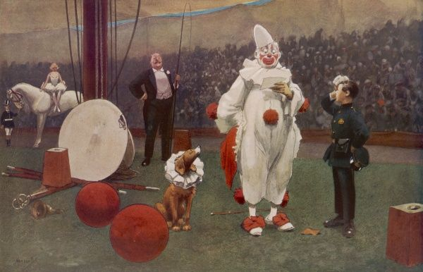 A clown is temporarily distracted from his performance by the inconvenient arrival of a telegram boy in the big top