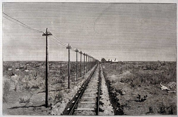 Telegraph lines running alongside a railway track at a remote station on the Great Plains of America