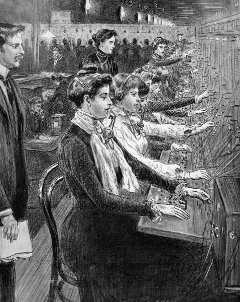 Drawing by Percy Spence of telephone girls answering calls at the new national telephone exchange at Kensington, London in 1902
