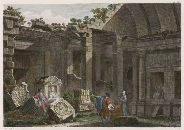 The Temple of Diane (Diana / Artemis) at Nimes attracting attention in this late 18th century scene from artists and some tourists examining a tomb and the masonry