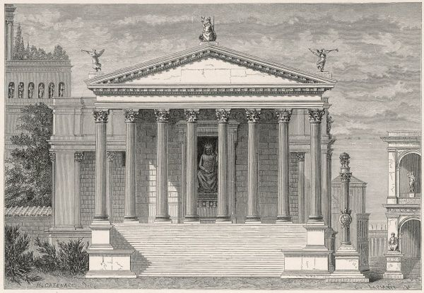 An artist's impression of the Temple of Jupiter Stator (Jupiter the Stayer), which stood in the Forum area of Rome