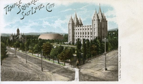 Temple Square - Salt Lake City, Utah, USA with the Tabernacle and Salt Lake Temple visible. Date: circa 1902