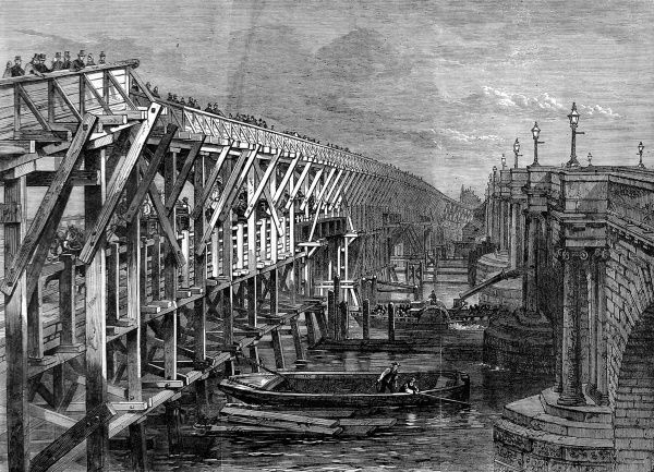 Engraving showing a temporary wooden bridge over the River Thames at Blackfriars, London, 1864. This bridge was used during the rebuilding and repair of Old Blackfriars Bridge