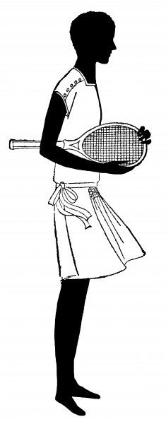 A young woman in her tennis gear, with her racquet under her arm, all set for a match