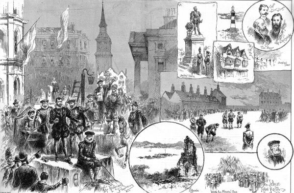 Engraving of the celebrations in Plymouth to mark the Tercentenary of the Spanish Armada in 1888. On the left can be seen the historical procession through the city and at centre right, men in Elizabethan costume playing bowls in the Citadel