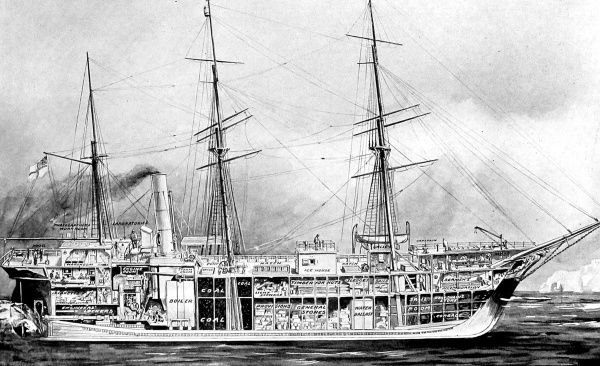Sectional illustration of the 'Terra Nova', the Polar research ship used by Captain R.F. Scott in his Antarctic Expedition of 1910-1912. The 'Terra Nova' was built as a Dundee whaler in 1884