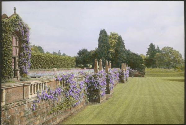 View of the terrace at Paddockhurst, near Selsfield Common, West Sussex