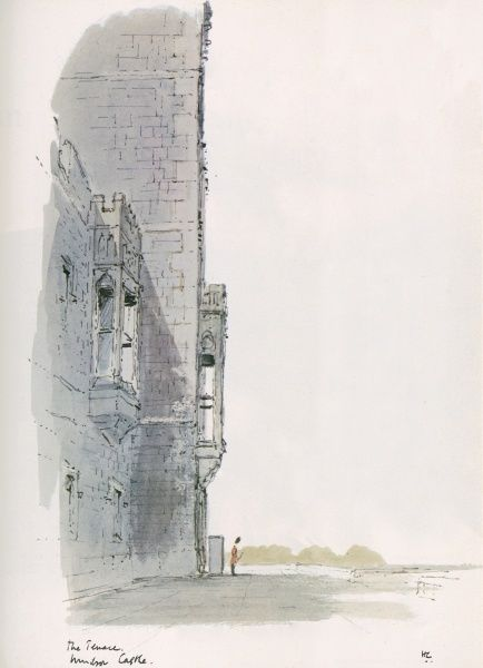 A watercolour and pen painting of the Terrace, Windsor Castle, London. The Illustrated London News featured a long running series of paintings of London's architecture by Sir Hugh Maxwell Casson during the late 1960s and through the 1970s