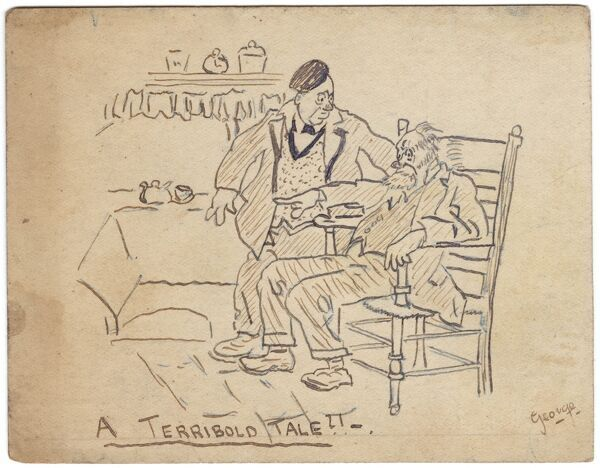 An old man sits in a chair telling a tall tale to his terrified friend. Drawing on a postcard by George Ranstead, an amateur artist of the Great War who served in the Army Pay Corps. Ranstead was one of many soldiers of WWI who took up drawing as a hobby
