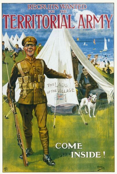 A recruitment poster for encouraging new recruits to enlist in the British Territorial Army, stressing the camaraderie of being one of the 'Lads of the Village'