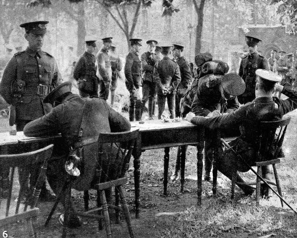 Soldiers of the Territorial Force being signed up in Deans Yard, Westminster, shortly after war was formally declared by Sir Edward Grey on August 4th, 1914