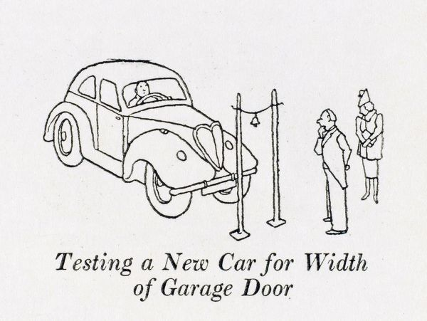 Testing a new car for width of garage door, with the aid of two posts and a bell attached to a piece of string. Please note: Credit must appear as (c) Courtesy of the estate of Mrs J.C.Robinson/Pollinger Ltd/Mary Evans Picture Library
