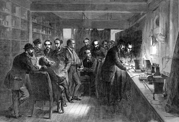 Group of engineers testing the recovered 1865 Atlantic cable