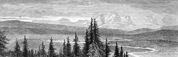 Engraving showing the Teton Mountains (also called the Grand Tetons), Wyoming, USA, 1883. These mountains are now part of the Grand Teton National Park