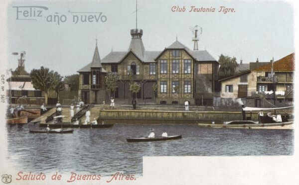 The Teutonia Rowing Club at Tigre, Buenos Aires Province, Argentina. Tigre lies on the Parana Delta and is an important tourist and weekend attraction. Date: 1901