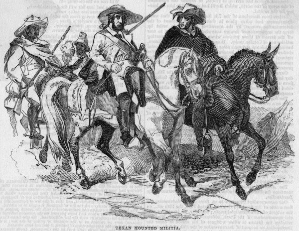 Texas wins independence from Mexico in 1836, and Texans such as these mounted militia- men are determined to keep it an independent Republic. But it will become a state 1845