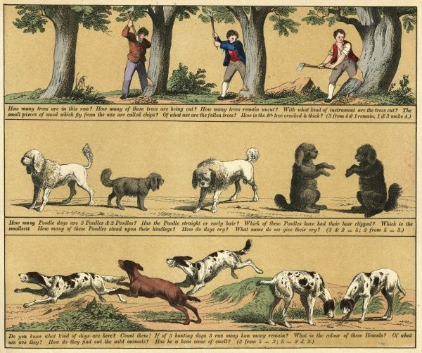 Plate 11 features pictures of felling trees and dogs (begging). Date: 1880