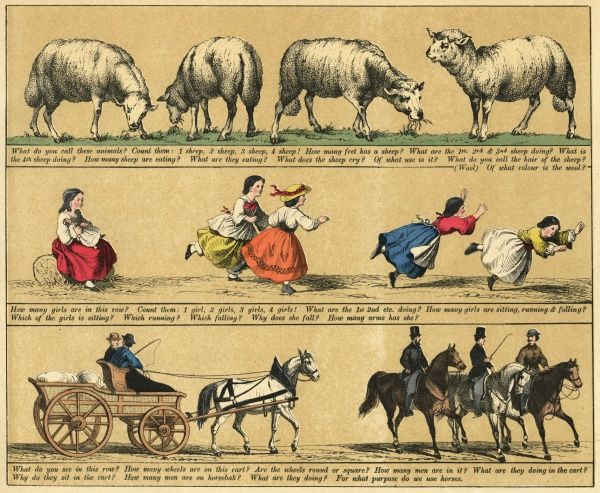 Plate 2 features pictures of sheep grazing, little girls and people riding horses. Date: 1880