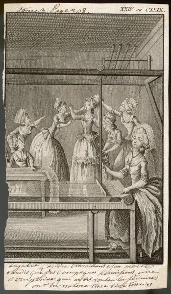 A squabble among staff in a French workshop - girls snatch the bonnet off the head of an over- dressed colleague, and trim her dress, while others get on with their work