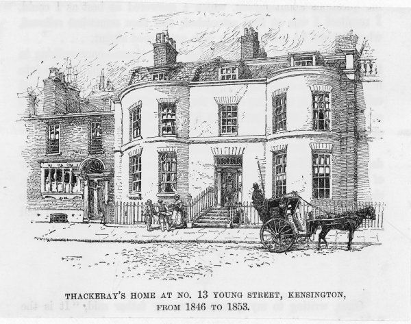 WILLIAM MAKEPEACE THACKERAY English novelist's home at 13 Young Street, Kensington, from 1846 to 1853