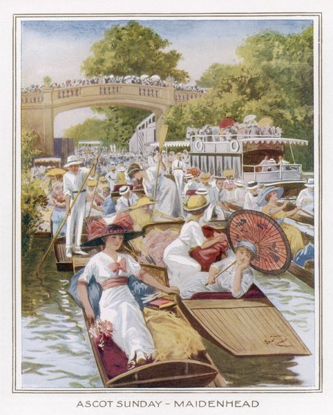 The Thames at Maidenhead is jammed with boats of all kinds on 'Ascot Sunday' at the height of the Season - a fashionable event for all levels of society