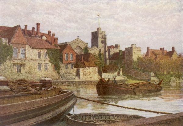 Thames barges with their masts lowered, on the Medway at Maidstone, Kent. Back of the ancient Palace, the Church and Old College