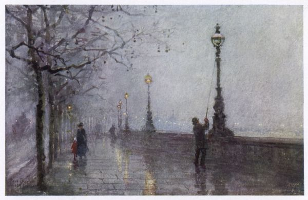 On the Thames Embankment - the lamplighter lights the last of the gas lamps