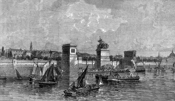 Engraving showing the steam boat landing pier which was proposed and designed by J.W. Bazalgette, to be constructed between Waterloo and Blackfriars Bridges, London, 1863