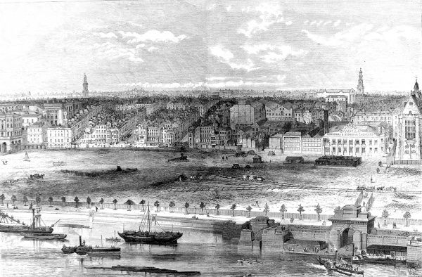 Engraving showing an aerial view of the Thames Embankment, from the Temple to Somerset House, London, 1869