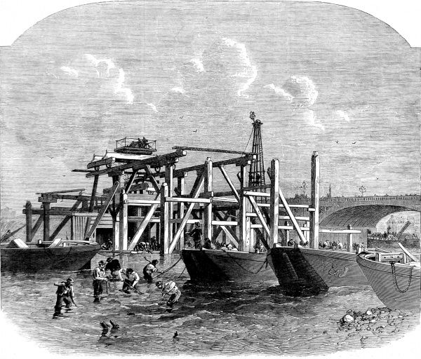 Engraving showing men and barges in the River Thames at the commencement of the Thames Embankment works, near Westminster Bridge, 1864