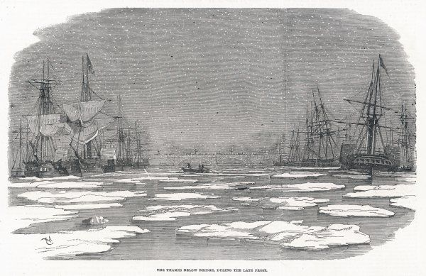 Though not completely frozen over, the river below London Bridge is strewn with ice- floes as though this was the Arctic !