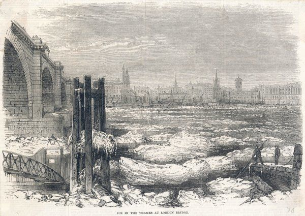 Floating ice on the Thames at London Bridge