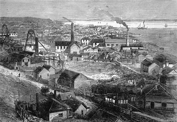 Engraving of small town with wooden framed houses, towers and industrial chimneys. Scene of the New Zealand gold rush