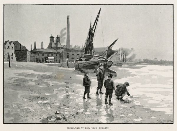 The river bank at MORTLAKE at low tide - boys scavenging at the water's edge