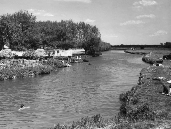 A glimpse of the River Thames at Radcot, where it flows through pleasant meadows and forms the boundary between Berkshire and Oxfordshire, England. Date: 1950s