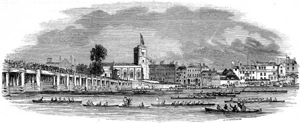 Engraving showing rowing boats, participating in the Thames Regatta of 1843, heading away from Fulham Bridge (on left)