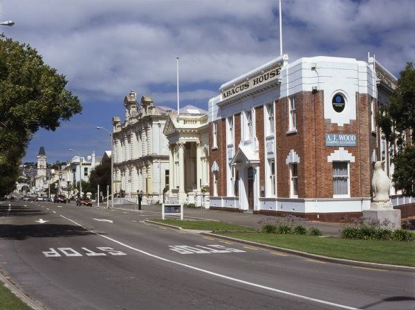 Old historic buildings in Thames Street, in the business district of Oamaru, South Island, New Zealand