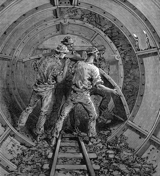 Putting up the castings to form the second tunnel beneath the Thames