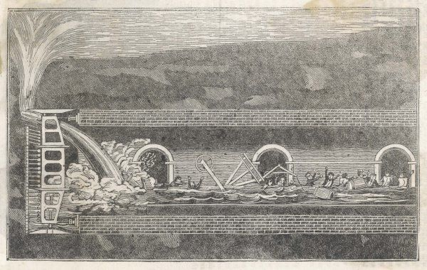 The fatal accident of January 1828 - water breaks into the workings and floods the partially completed tunnel